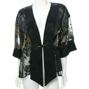Spencer Alexis Women's M Black Kimono Asian Top